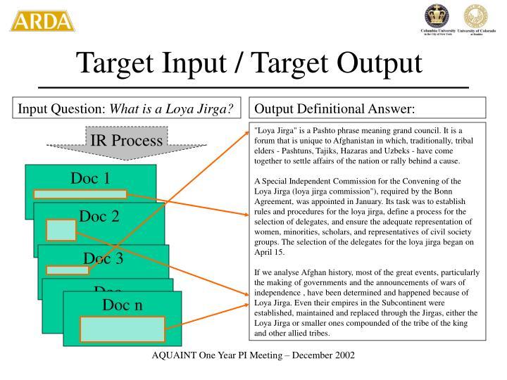 Target Input / Target Output