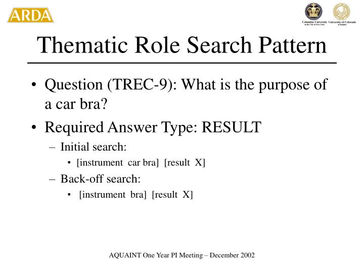 Thematic Role Search Pattern