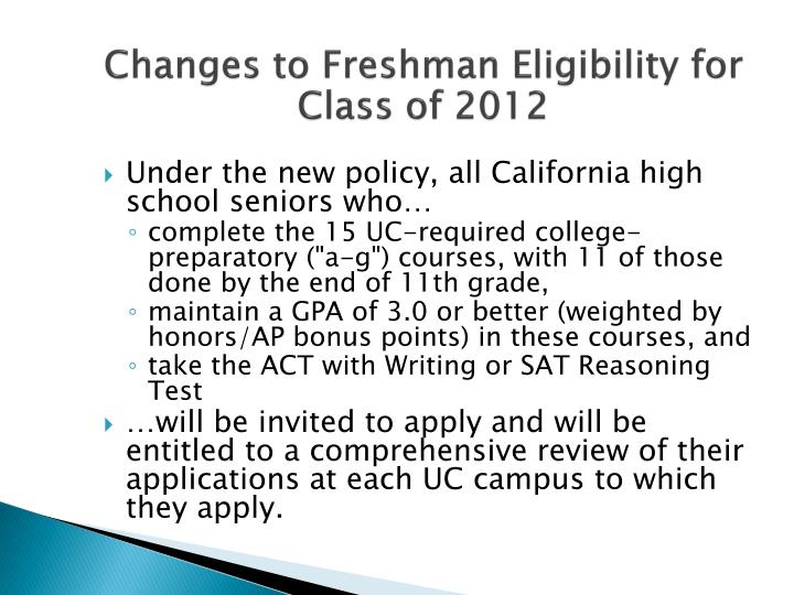 Changes to Freshman Eligibility for