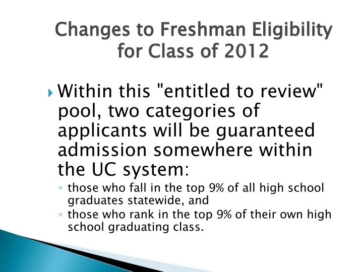 Changes to Freshman Eligibility for Class of 2012