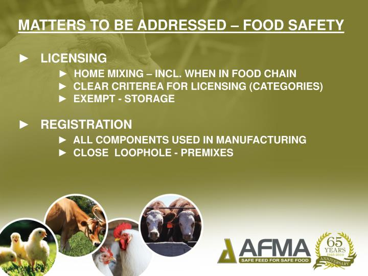 MATTERS TO BE ADDRESSED – FOOD SAFETY