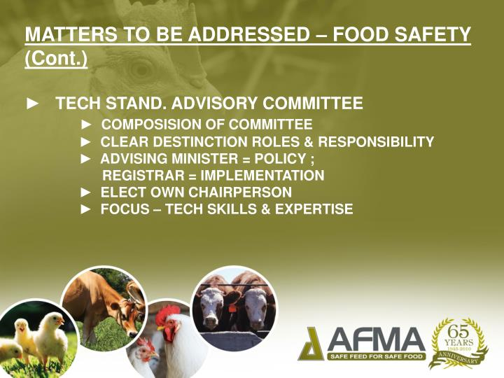 MATTERS TO BE ADDRESSED – FOOD SAFETY (Cont.)