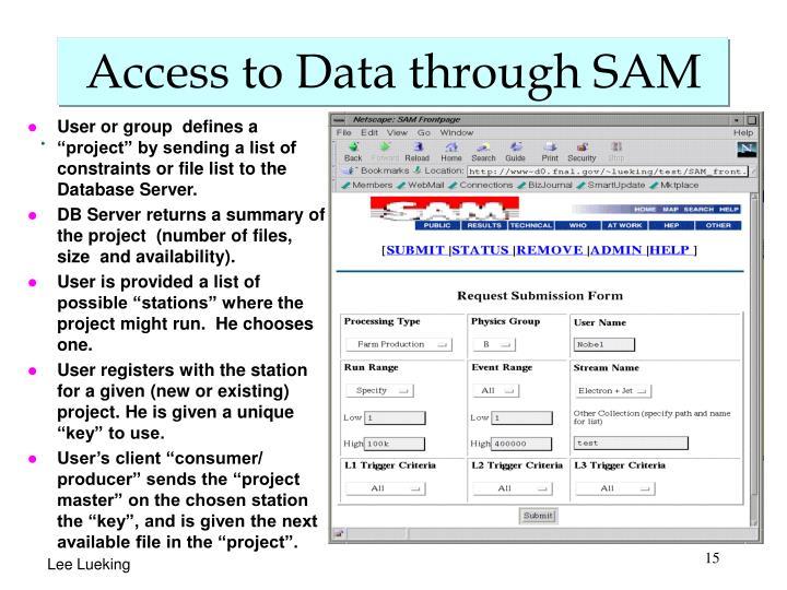 Access to Data through SAM