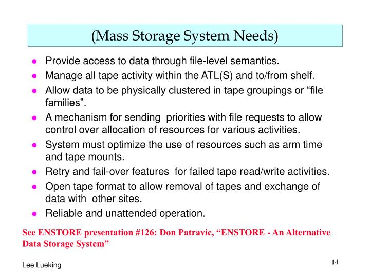 (Mass Storage System Needs)