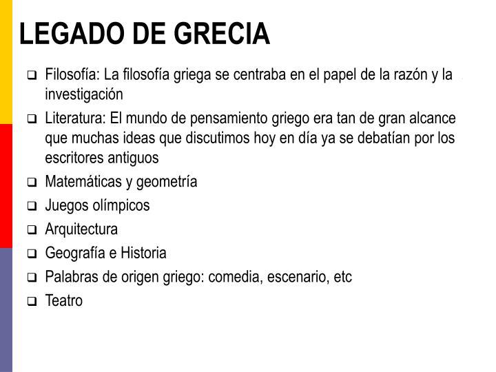 LEGADO DE GRECIA