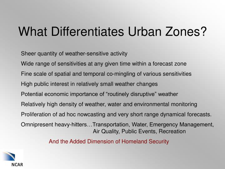 What differentiates urban zones