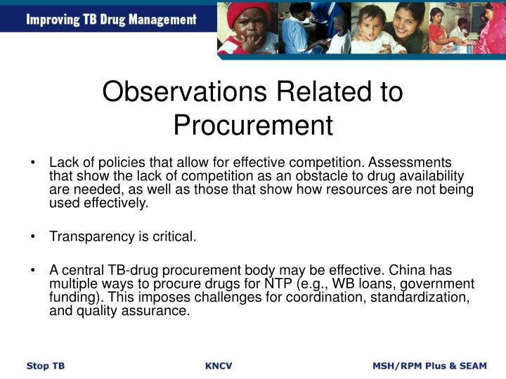 Observations Related to Procurement