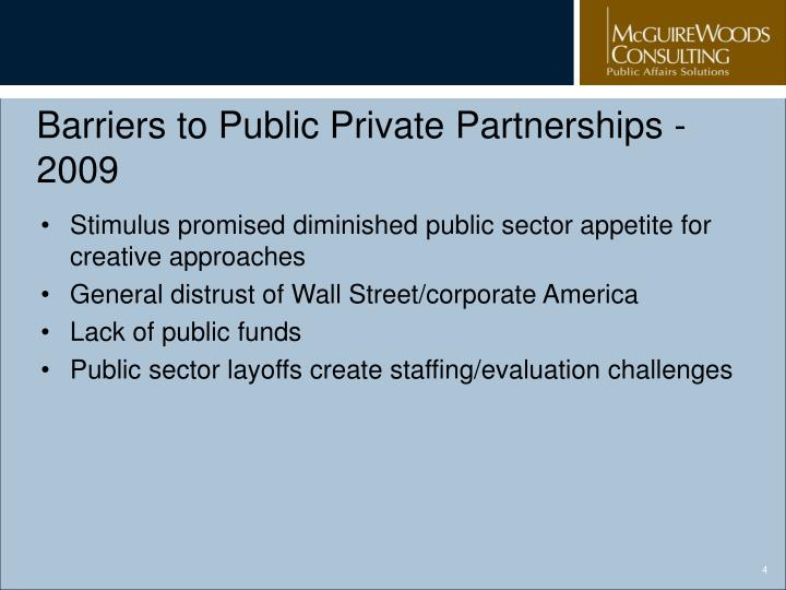 Barriers to Public Private Partnerships - 2009