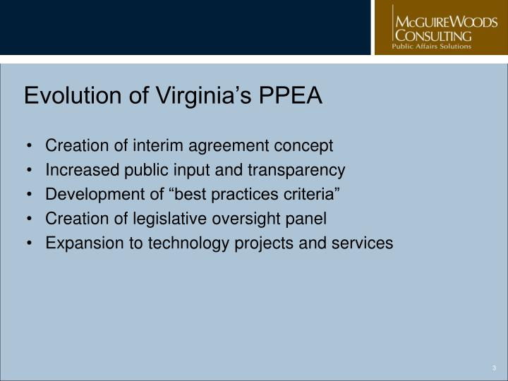 Evolution of virginia s ppea
