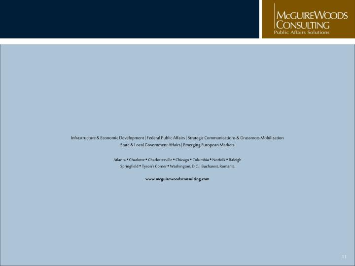 Infrastructure & Economic Development | Federal Public Affairs | Strategic Communications & Grassroots Mobilization