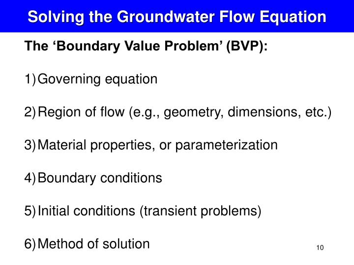 Solving the Groundwater Flow Equation
