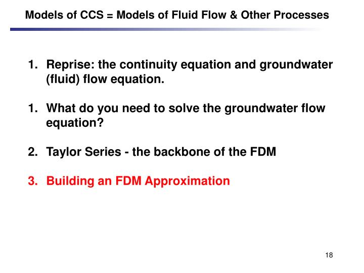 Models of CCS = Models of Fluid Flow & Other Processes