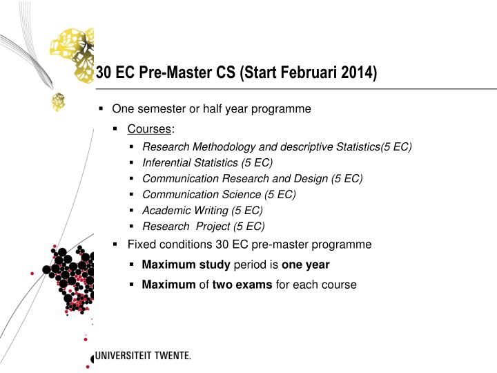30 EC Pre-Master CS (Start Februari 2014)
