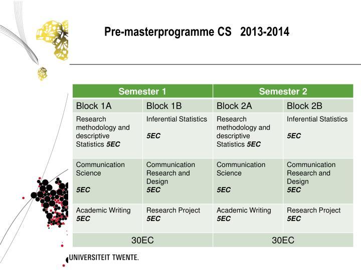 Pre-masterprogramme CS   2013-2014