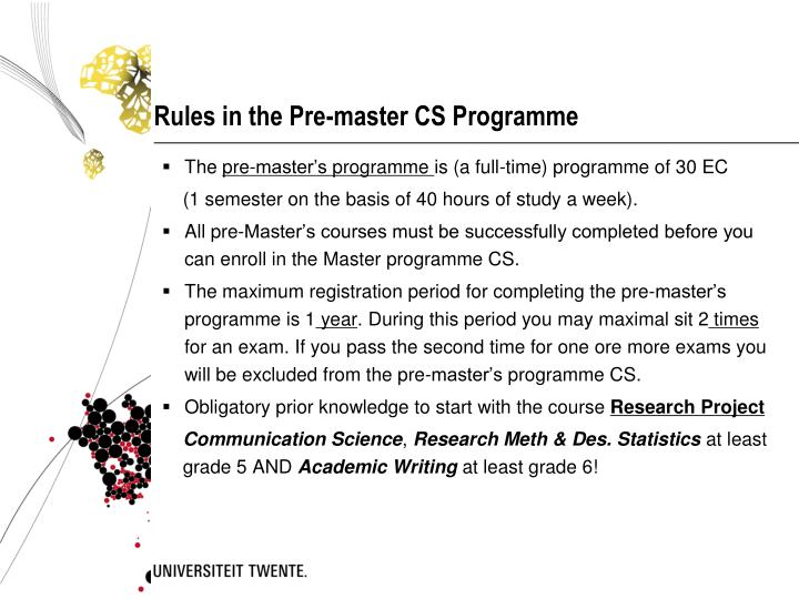 Rules in the Pre-master CS Programme