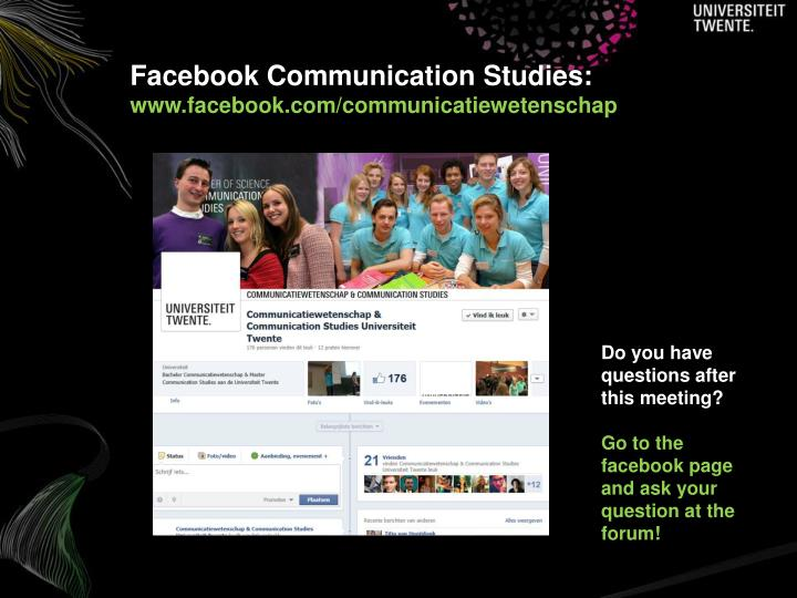 Facebook Communication Studies: