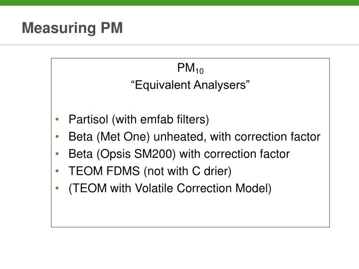 Measuring PM
