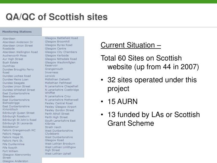 Qa qc of scottish sites