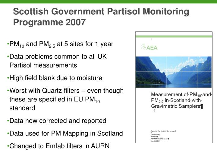 Scottish Government Partisol Monitoring Programme 2007