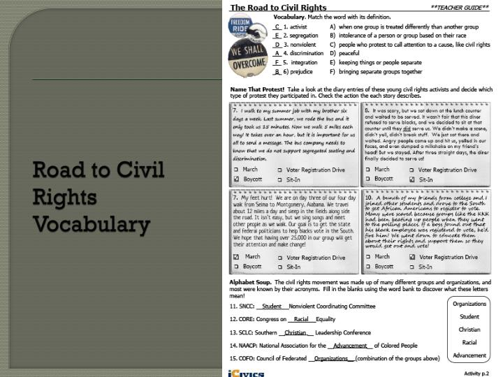 Road to Civil Rights Vocabulary
