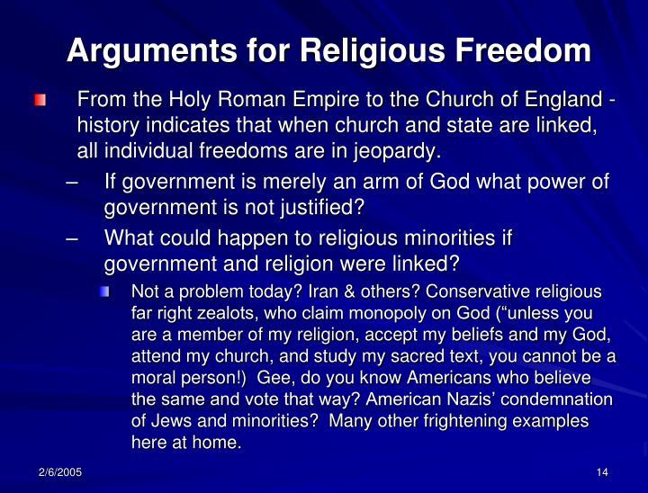 Arguments for Religious Freedom