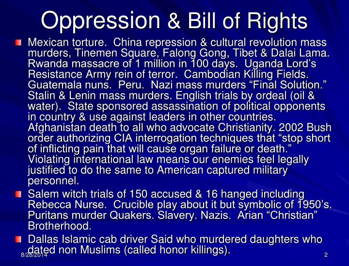 Oppression bill of rights