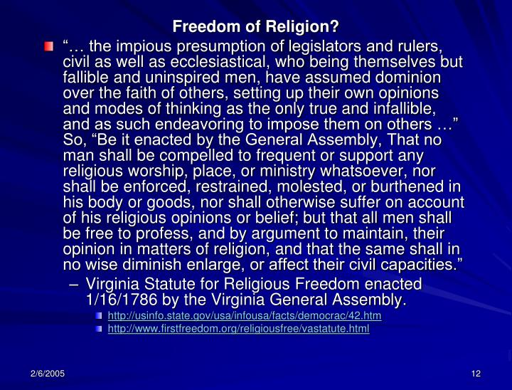 Freedom of Religion?
