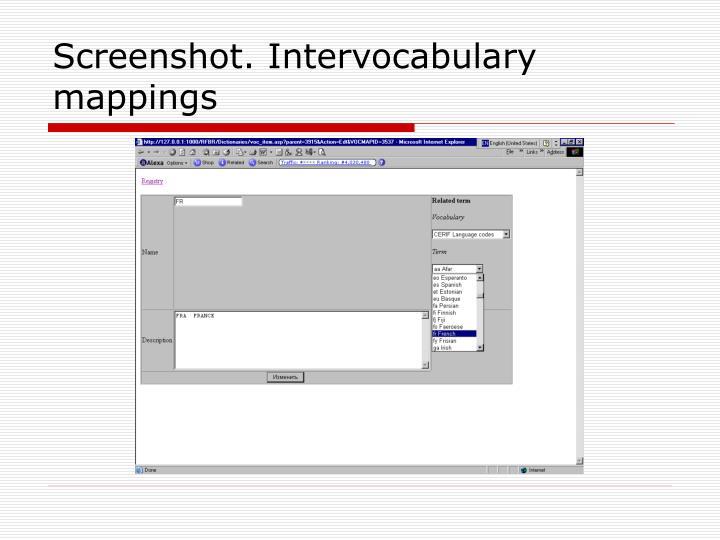 Screenshot. Intervocabulary mappings