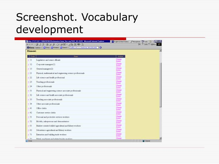 Screenshot. Vocabulary development