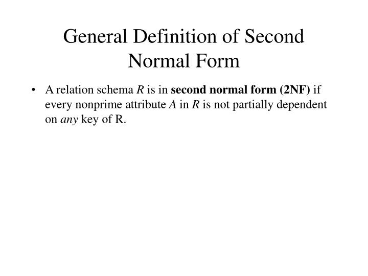 General Definition of Second Normal Form
