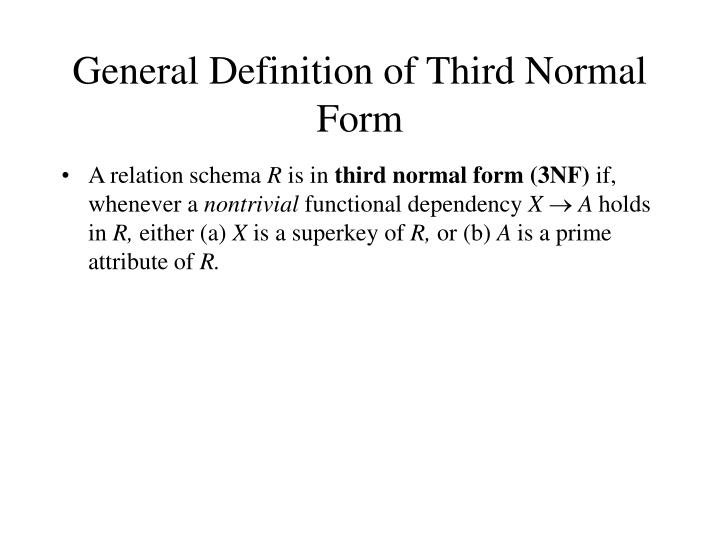General Definition of Third Normal Form