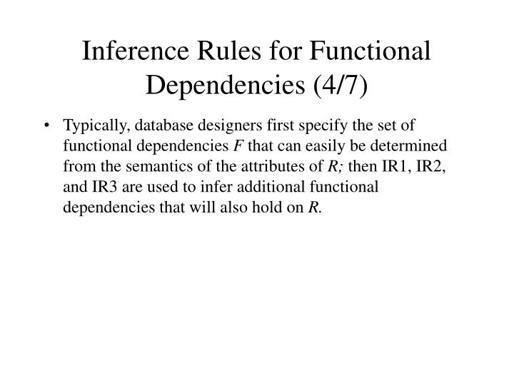 Inference Rules for Functional Dependencies (4/7)