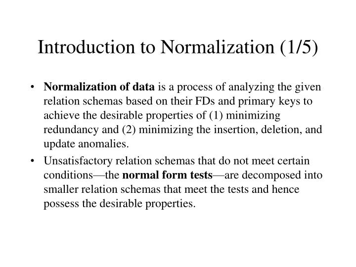 Introduction to Normalization (1/5)