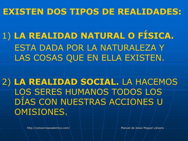 EXISTEN DOS TIPOS DE REALIDADES:
