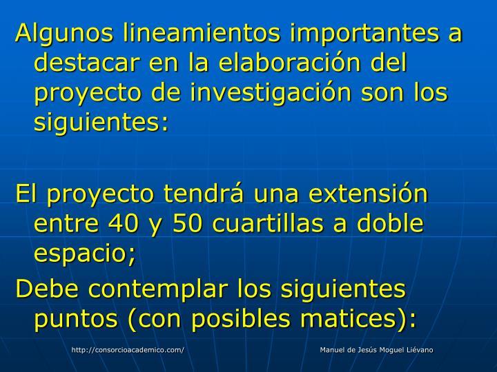 Algunos lineamientos importantes a destacar en la elaboración del proyecto de investigación son los siguientes: