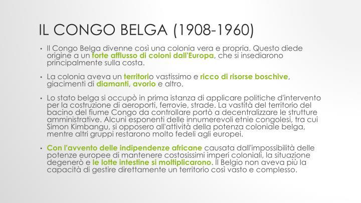 Il Congo Belga (1908-1960)