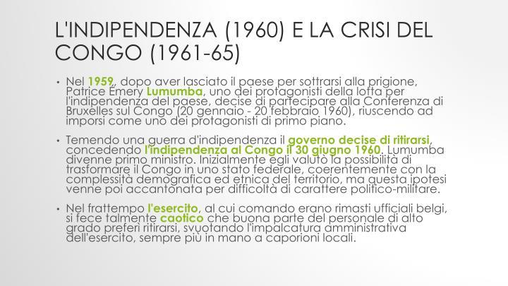 L'indipendenza (1960) e la crisi del Congo (1961-65)