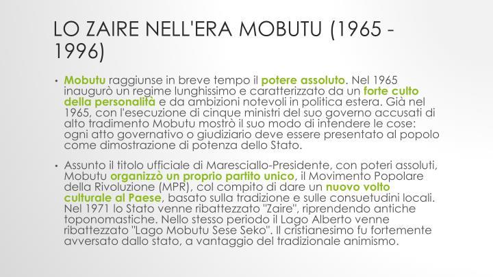 Lo Zaire nell'era Mobutu (1965 - 1996)