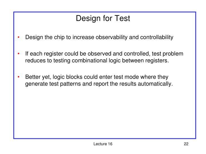 Design for Test