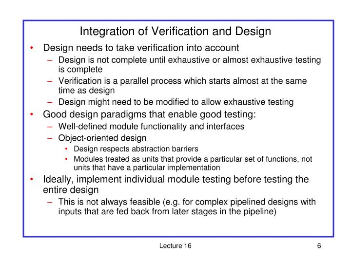 Integration of Verification and Design