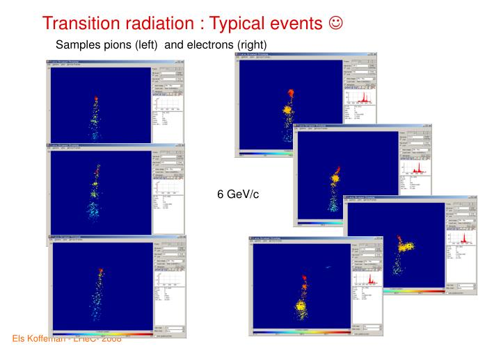 Transition radiation : Typical events
