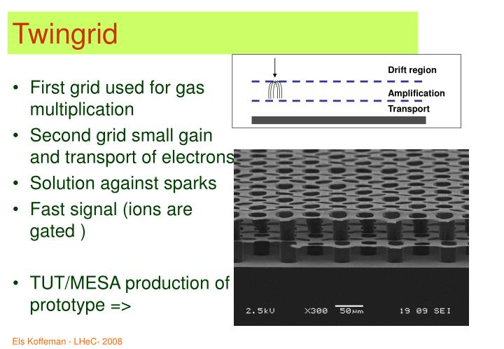 First grid used for gas multiplication