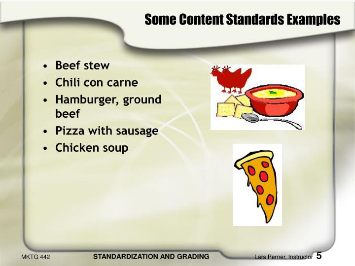Some Content Standards Examples