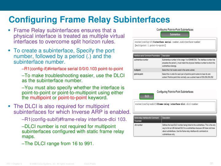 Configuring Frame Relay Subinterfaces