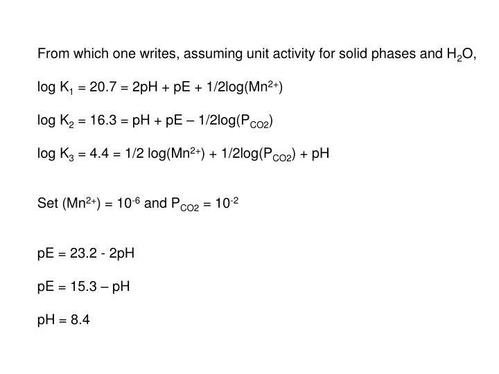 From which one writes, assuming unit activity for solid phases and H