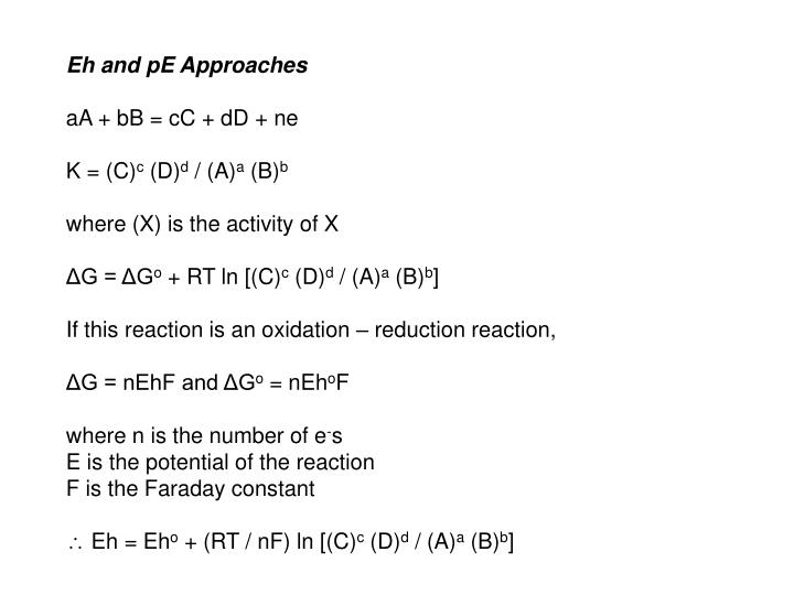 Eh and pE Approaches