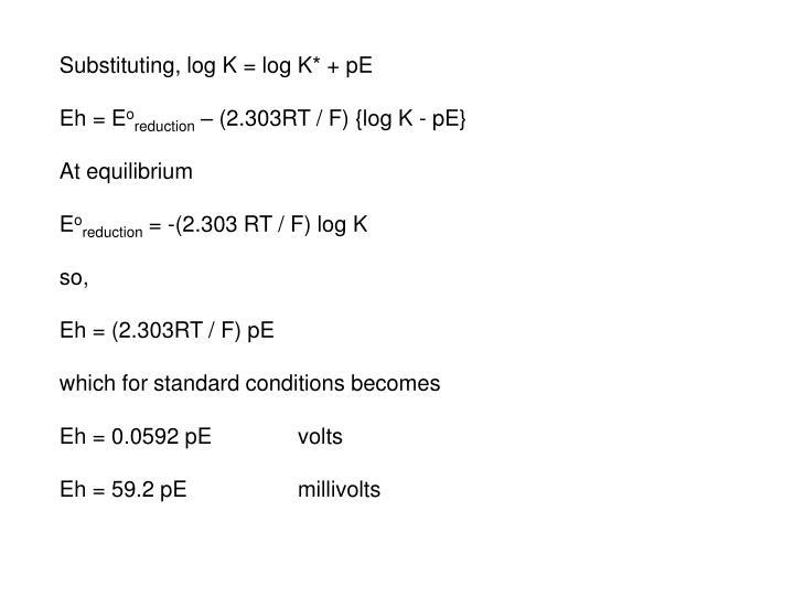 Substituting, log K = log K* + pE