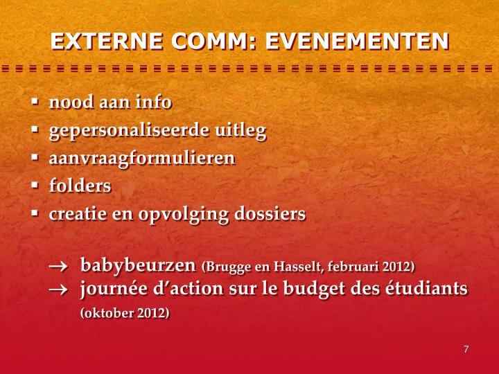 EXTERNE COMM: EVENEMENTEN