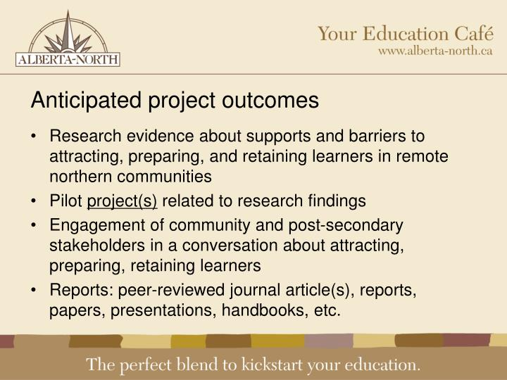 Anticipated project outcomes