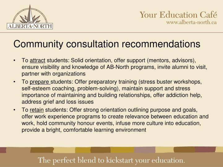 Community consultation recommendations